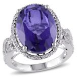 Diamore™ 8 7/8 CT Tanzanite Quartz Doublet and White Topaz Ring in Silver