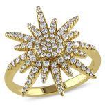 Diamore™ 1.09 CT Cubic Zirconia Star Fashion Ring in Yellow Silver