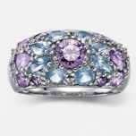 JESSICA®/MD Women's Amethyst And Blue Topaz Cubic Zirconia Dome Ring
