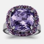 JESSICA®/MD Women's Amethyst Cubic Zirconia Sterling Silver Dinner Ring