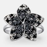 JESSICA®/MD Women's Black And Clear Stone Crystal Flower Ring In Sterling Silver