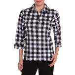 Alia Crinkle Plaid Blouse