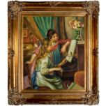 Overstock Art Renoir, Young Girls at the Piano - Hand Painted Oil on Canvas