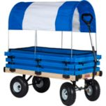 Millside Wood and Poly Wagon with Blue and White Canopy