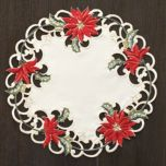 'Red Poinsettia' Set Of 4 Doilies
