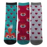 Pretty Petals® Girls Fox & Hearts Crew Socks 3-Pair