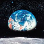 'Earth View From Moon' 8-Piece Decorative Wall Mural