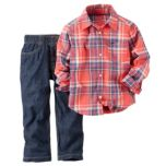 Carter's® Two Piece Plaid Shirt and Jeans Set