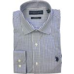 U.S. Polo Assn. Men's Checkered Long Sleeve Spread Collar Dress Shirt