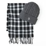 U.S. Polo Assn. Cuffed Beanie and Plaid Scarf