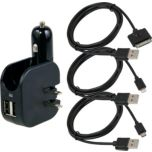 KASNO Car and Home Dual USB Charger with iPhone, iPad and Micro USB Cable