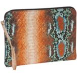 BUXTON® Python Snake Print Mini 10 inch Tablet/e-reader Wristlet Case - Orange