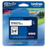 brother® Black on White Tape - 18mm