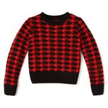 Girl Confidential(TM/MC) Girls Cropped Houndstooth Long Sleeve Sweater