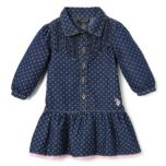 U.S. Polo Assn. Girls Polka Dot Printed Ruffle Trim Dress