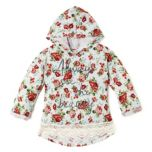 Girls Allover Floral Print Hooded Top