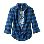 Girl's Flannel Shirt And Tee Fooler Top