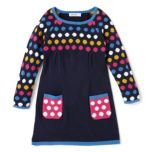 Nevada Girls Long Sleeve Sweater Dress With Polka Dots