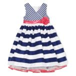 Girls' Printed Stripe Shantung Dress