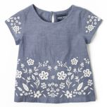 CHEROKEE® Girls Embroidered Short Sleeve Top