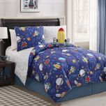 Kids' Rocket Reversible Comforter Set With Matching Plush Toy