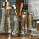 'Gracious Gold' Glass Toothbrush Holder
